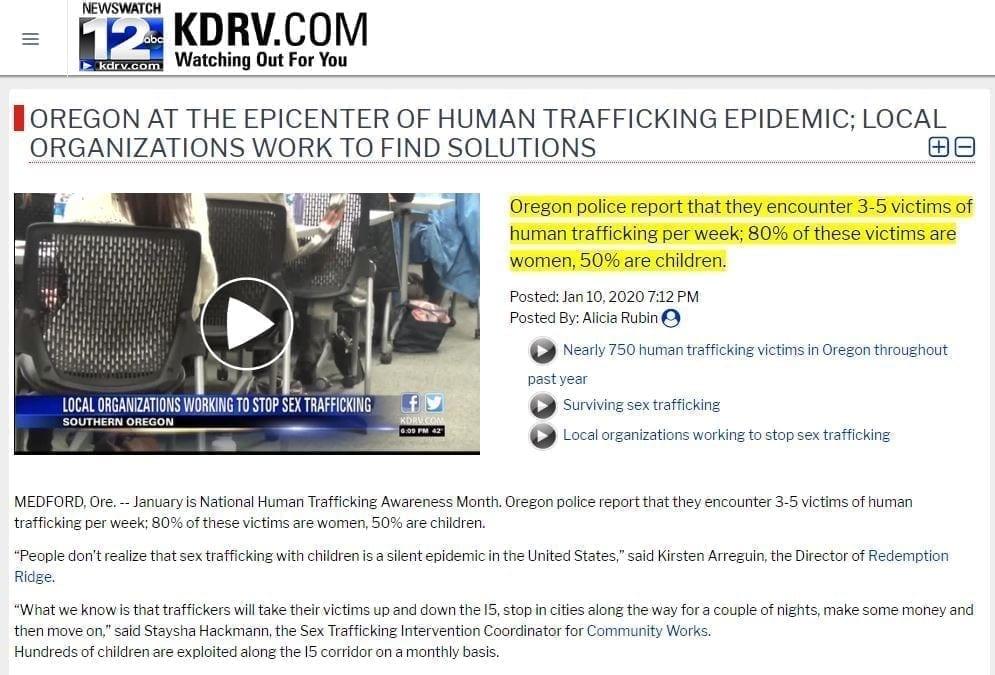 Sex Trafficking Stats Oregon Children