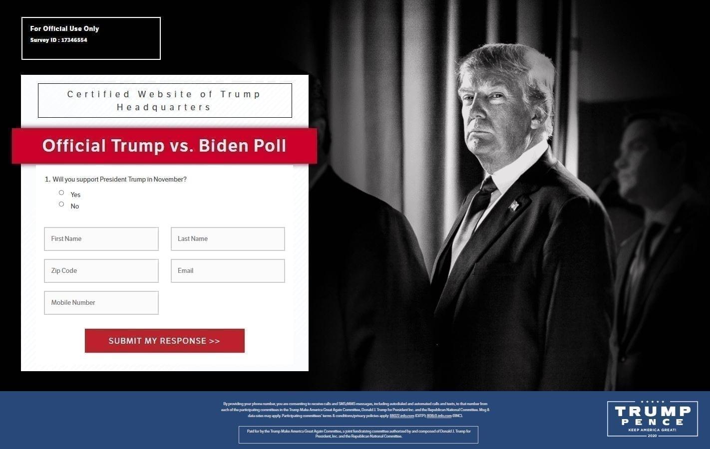 TRUMP VS BIDEN POLL WEBSITE