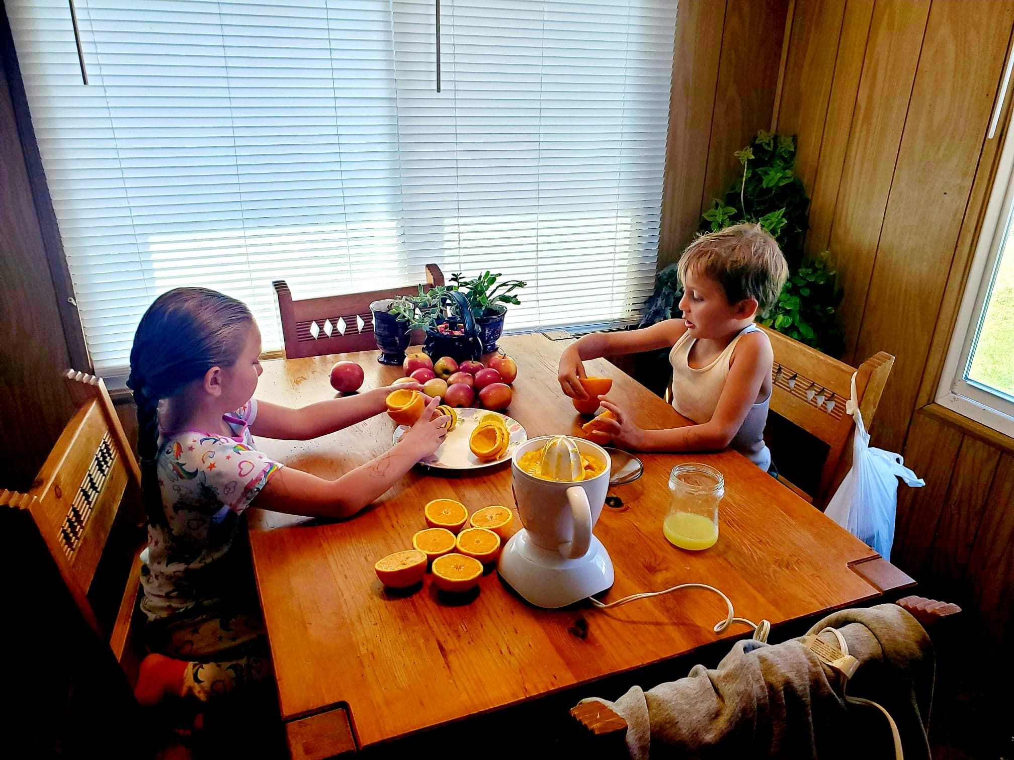 Siblings Juicing Oranges