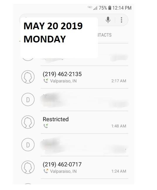 Image of call to police phone record